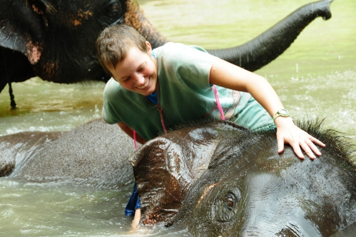 Staying on the elephants in the water proved to be very difficult for Katy.